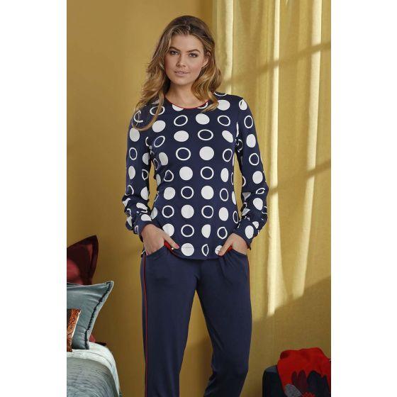 Dames pyjama blauw cirkels