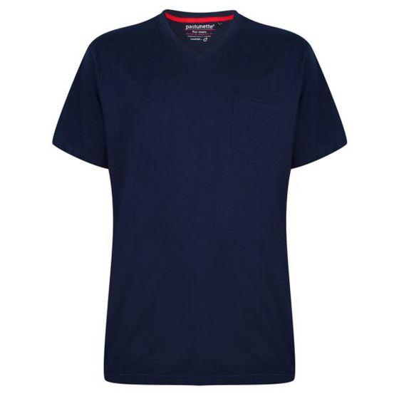 Blauw pyjama shirt V-hals