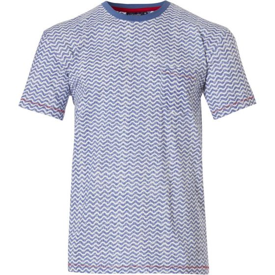 Blauw katoenen shirt heren