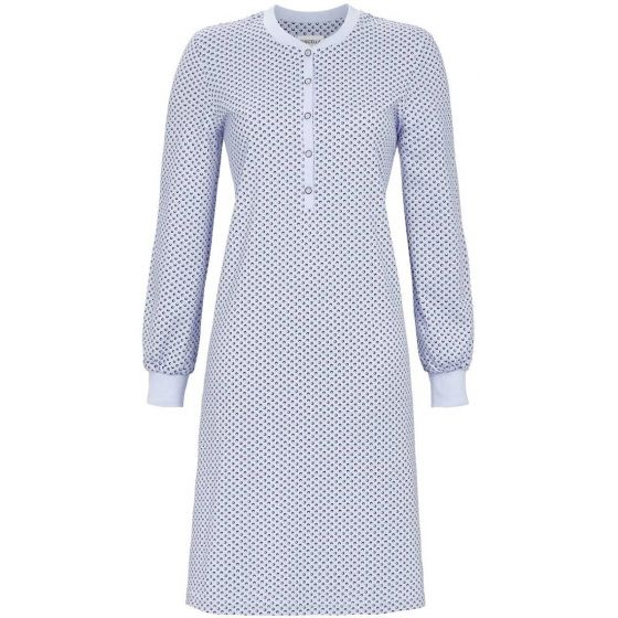 Blauw warm interlock nachthemd Ringella