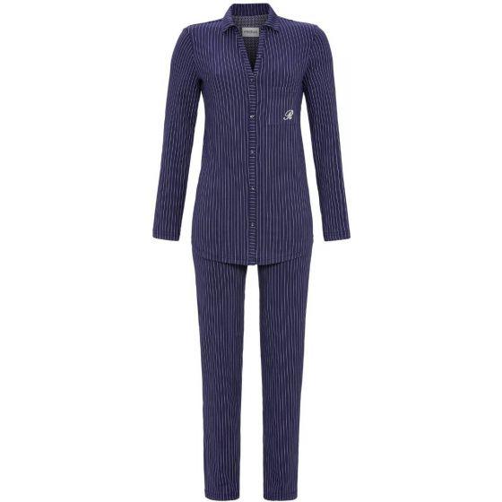 Donker blauwe doorknoop pyjama