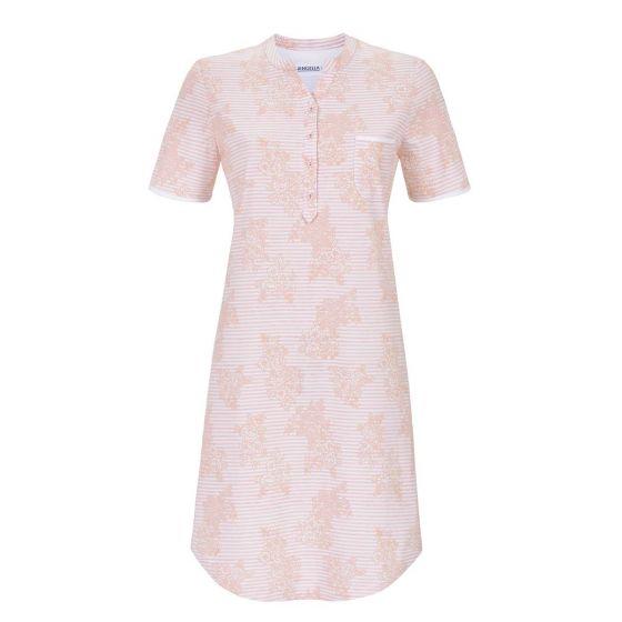 Roze Ringella nachthemd bloemen en strepen