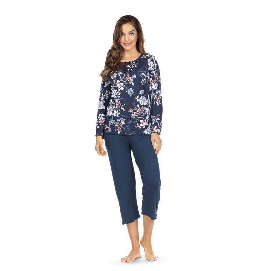 Marineblauwe pyjama bloemen Ascafa