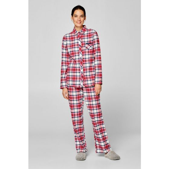 Flanellen pyjama met ruitpatroon Esprit