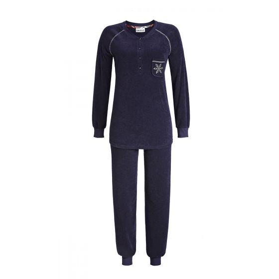 Badstof dames pyjama donker blauw
