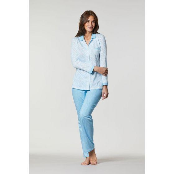 Blauwe doorknoop pyjama Ringella