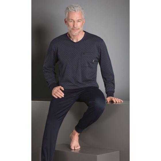Sportieve heren pyjama blauw Hajo