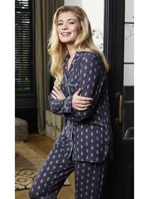 Doorknoop pyjama antraciet grijs Pastunette