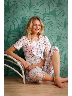 Doorknoop dames pyjama driekwart broek