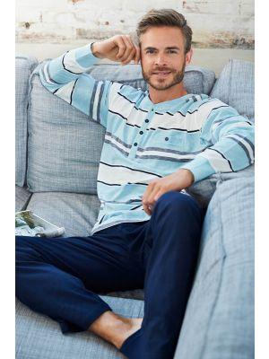 Heren pyjama gestreept turquoise Pastunette