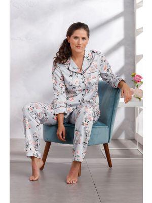 Doorknoop pyjama satijn Pastunette