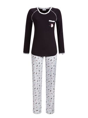 Zwarte Ringella pyjama pinguïn