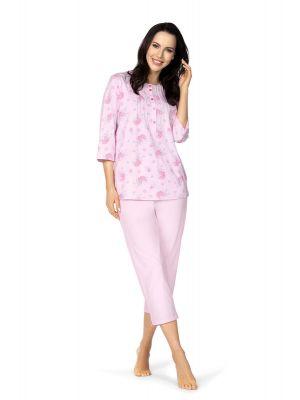 Katoenen klassieke roze dames pyjama