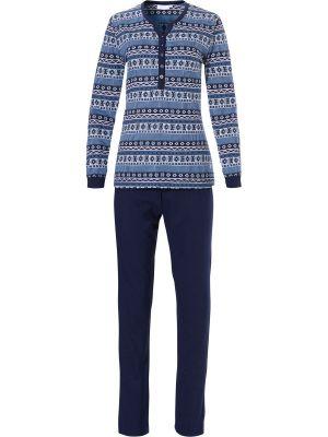 Blauwe pyjama boorden Pastunette