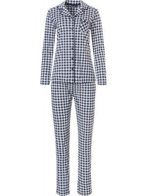 Blauw geruite doorknoop pyjama Pastunette