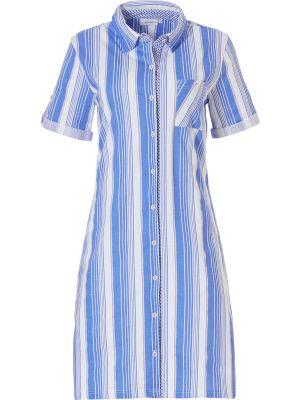 Blauw doorknoop nachthemd streep Pastunette