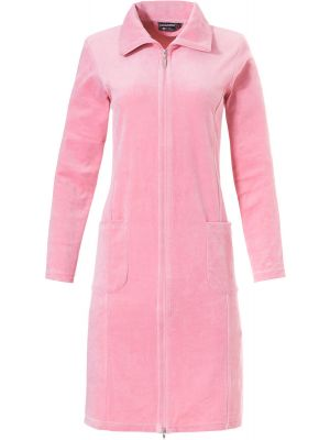 Roze dames velours badjas met rits