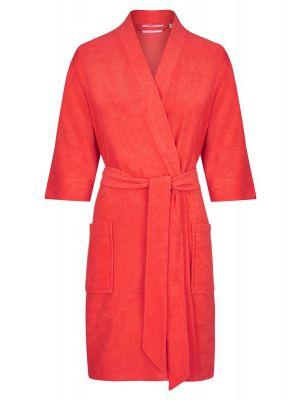 Rode dames badjas driekwart mouwen