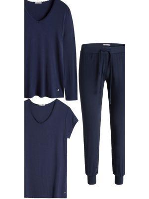 Donker blauwe driedelige pyjama set Esprit