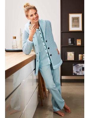 Dames pyjama doorknoop en kamerjas Pastunette