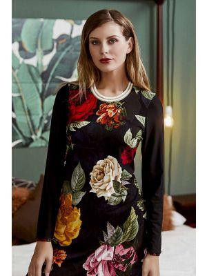 Zwart Ringella nachthemd rozen