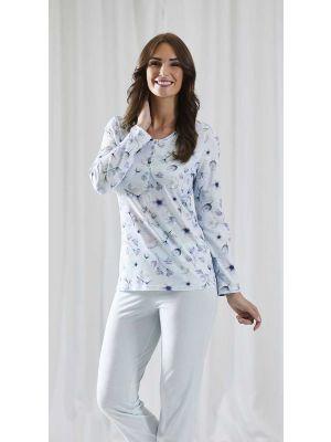 Blauwe Ringella pyjama met bloemen