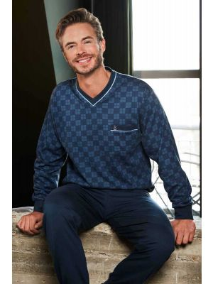 Heren pyjama V-hals blauw Robson