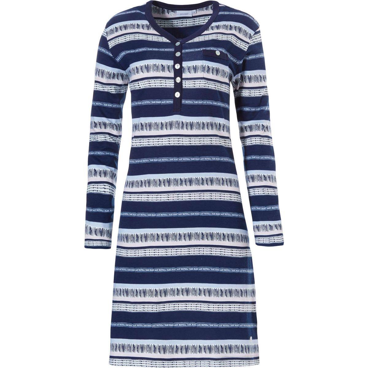 Pastunette gestreept nachthemd blauw/wit