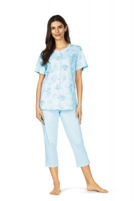 Blauwe bloemen doorknoop pyjama Comtessa