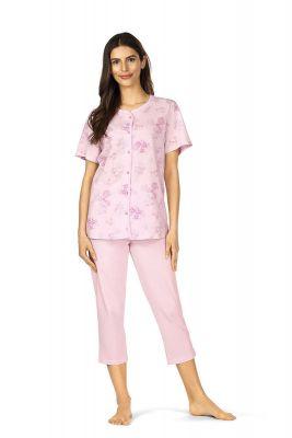 Roze bloemen doorknoop pyjama Comtessa