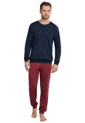 Rood blauwe herenpyjama Schiesser