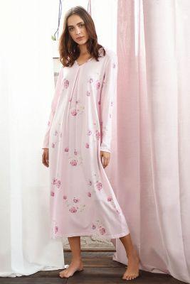 Roze klassieke lange nachtjapon