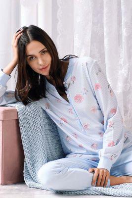 Blauwe pyjama bloemen en strepen