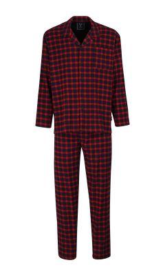 Rode flanellen doorknoop herenpyjama