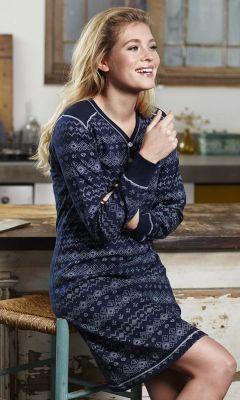 Nachthemd blauw patroon Pastunette