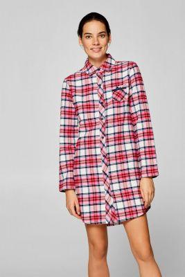 Flanellen nachthemd met ruitpatroon Esprit