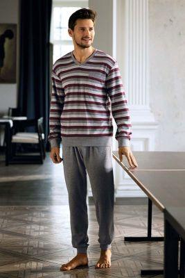 Badstof heren pyjama grijs