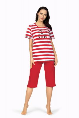 Zomers rood-wit gestreepte dames pyjama