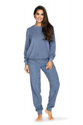 Dames pyjama badstof blauw