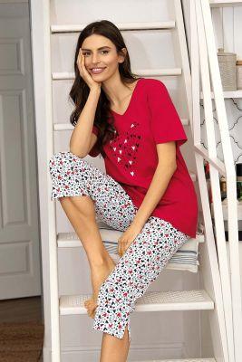 Rode Comtessa hartjes pyjama
