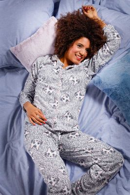 Warme doorknoop dames pyjama kat