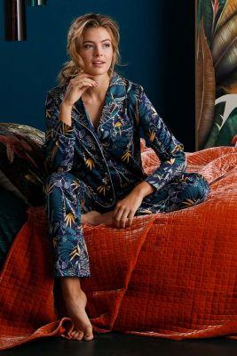Satijnen dames doorknoop pyjama