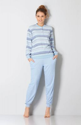 Badstof dames pyjama blauw