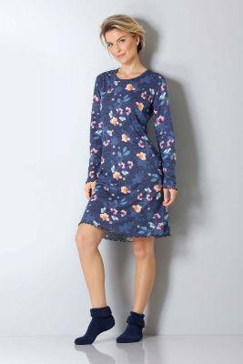 Blauw dames nachthemd bloem