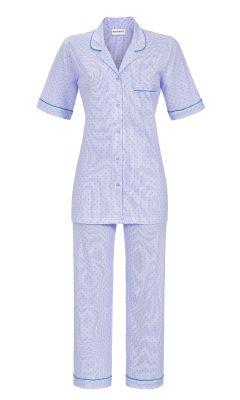 Blauwe doorknoop pyjama hartjes