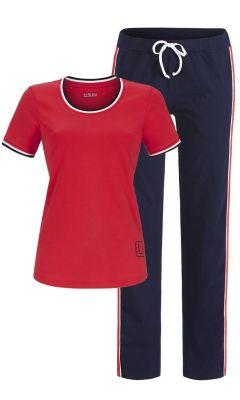 Rood blauwe dames pyjama Ringella
