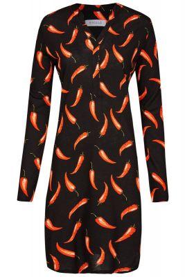 Zwart Ringella nachthemd chilipepers