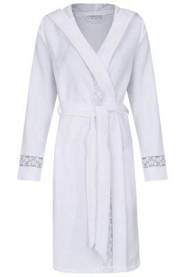 Witte dames badjas met kant
