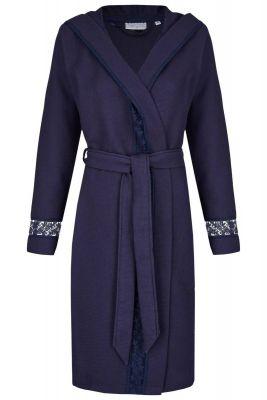 Blauwe dames badjas met kant