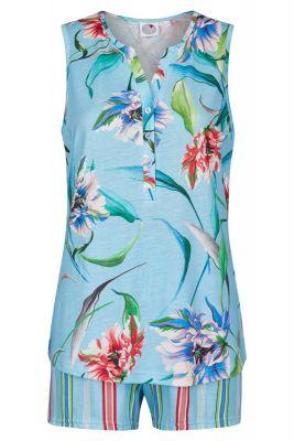 Mouwloze shortama Caribische bloemen